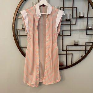 Ted Baker pink striped mini dress button down sz 0